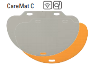 CareMat C mit Kabel, halbrund, 1100 x 700 mm, normale Größe, normal offen, grau