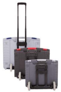 Transportkoffer für Kommunikationshilfen mit Gestänge